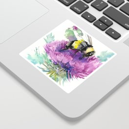Bumblebee and Thistle Flower, honey bee floral Sticker