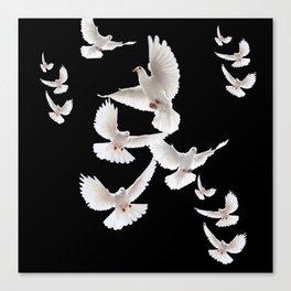 WHITE PEACE DOVES ON BLACK COLOR DESIGN ART Canvas Print