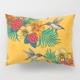 Hummingbirds and tropical bouquet in yellow Pillow Sham