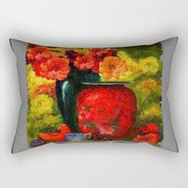 RED-ORANGE AMARYLLIS RED VASE STILL LIFE Rectangular Pillow