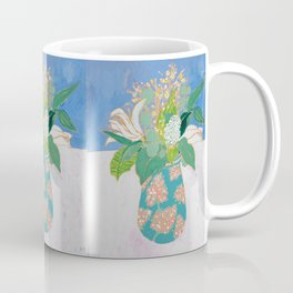 Lily and Eucalyptus Bouquet in Blue and Peach Floral Vase Coffee Mug