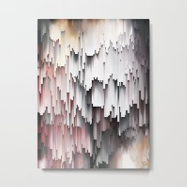 White Black Mauve Cascade Abstract Metal Print