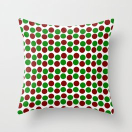 Modern Holiday Red and Green Bold Dots Pattern Throw Pillow