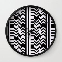 Striped Kilim in Black + Bone Wall Clock