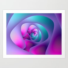 Spiral Labyrinth in Blue and Pink Art Print