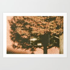 autumn tree, shadow Art Print