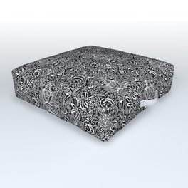 William Morris Indian, Black and White Outdoor Floor Cushion