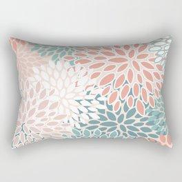 Festive, Floral Prints, Teal Green, Peach, Coral, Colour Prints Rectangular Pillow