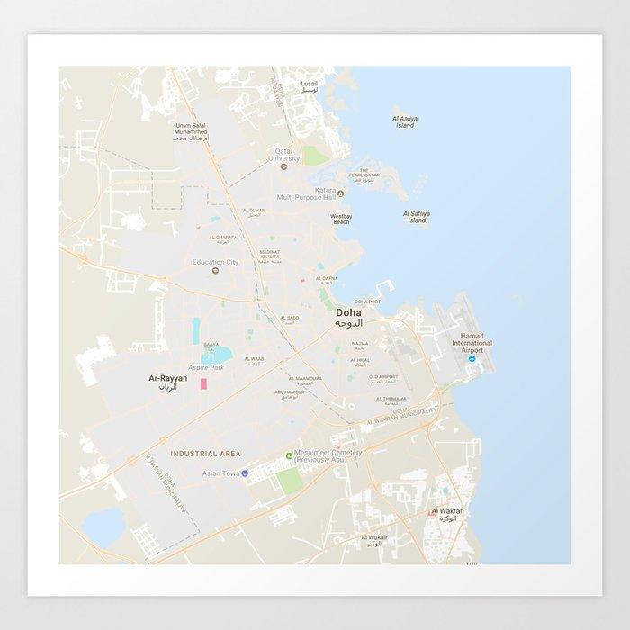 Doha Karte Welt.Minimalist Modern Map Of Doha Qatar 9 Kunstdrucke