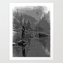 A smoky day at the Sugar Bowl—Hupa, c. 1923. Hupa man with spear, standing on rock midstream by E Cu Art Print