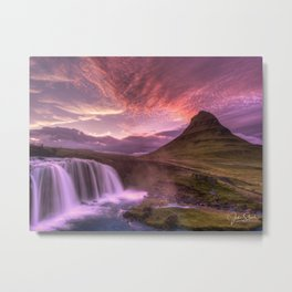 Sunset in the Land of Ice Metal Print