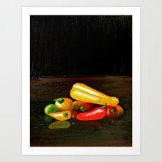Peppers From a Friend, the painting Art Print