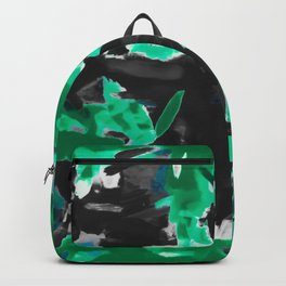psychedelic vintage camouflage painting texture abstract in green and black Backpack