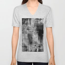 Black and White Brush Strokes Painting (2) // Modern Trending Minimal Simple Beautiful Distressed Unisex V-Neck