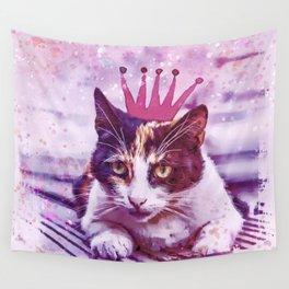 cute cat princess pink crown art Wall Tapestry