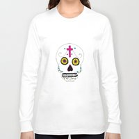 mexican Long Sleeve T-shirts featuring Mexican Skull by Mariam Tronchoni