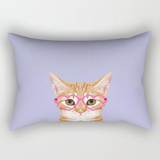 Mackenzie - Orange Tabby Cute Hipster Glasses Kitten Lavender Pastel Girly Retro Cat Art cell phone Rectangular Pillow