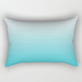 White to Robins Egg Blue Painted appearance gradient ombre Rectangular Pillow