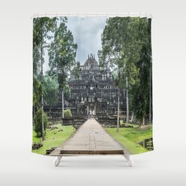Tourists at Baphuon Temple at Angkor Thom I, Siem Reap, Cambodia Shower Curtain