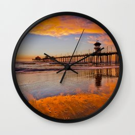 HB Sunsets   12/23/15  ~  Sunset At The Huntington Beach Pier Wall Clock