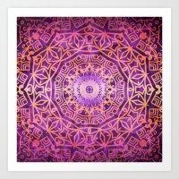 Mandala Pink Night Art Print