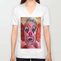 clown V-neck T-shirts featuring Clown by Digital-Art