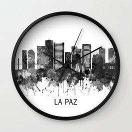 La Paz Bolivia Skyline BW Wall Clock