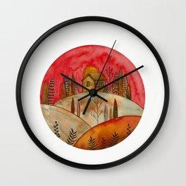 Circular watercolor landscape Wall Clock