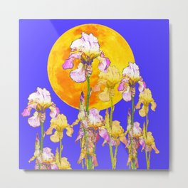 IRIS GARDEN & RISING GOLD MOON  DESIGN ART Metal Print