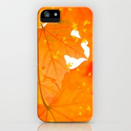 Fall Orange Maple Leaves On A White Background #decor #society6 #buyart iPhone Case
