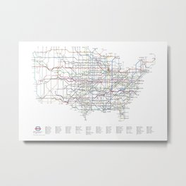 U.S. Numbered Highways as a Subway Map Metal Print
