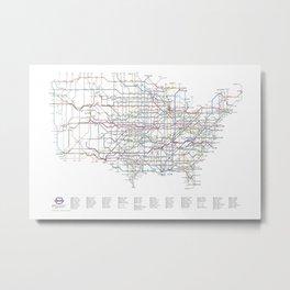 U.S. Numbered Highways as a Subway Map Metal Print