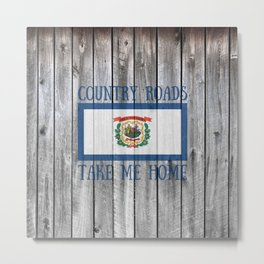 West Virginia State Flag Country Roads Barn Wall Rustic Print Metal Print