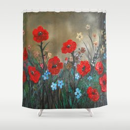 Impasto Red Poppy Love Garden Shower Curtain