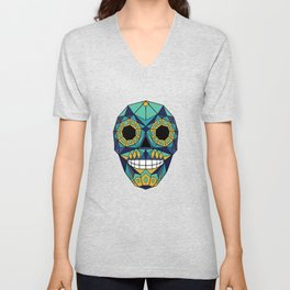 Mexican Skull - Day of the Dead - Blue Green Unisex V-Neck