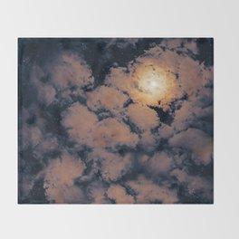 Full moon through purple clouds Throw Blanket