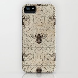 Bumble Bee  on sacred geometry pattern iPhone Case