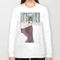 milan Long Sleeve T-shirts featuring Fashion model in Milan by ArtSelena