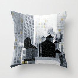 Rainy New York City Throw Pillow