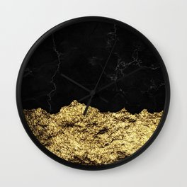 Rough Gold Torn and Black Marble Wall Clock