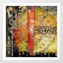 Orange Gold Burst Abstract Art Collage Art Print