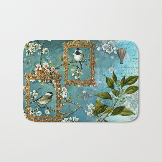 Blue, Birds, Balloon and Botanics Bath Mat
