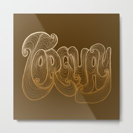 Torquay Typography - Warm Sand Metal Print