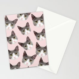 girly cute pink pattern snowshoe cat Stationery Cards