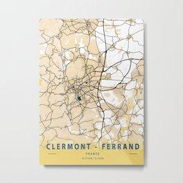 Clermont - Ferrand Yellow City Map Metal Print