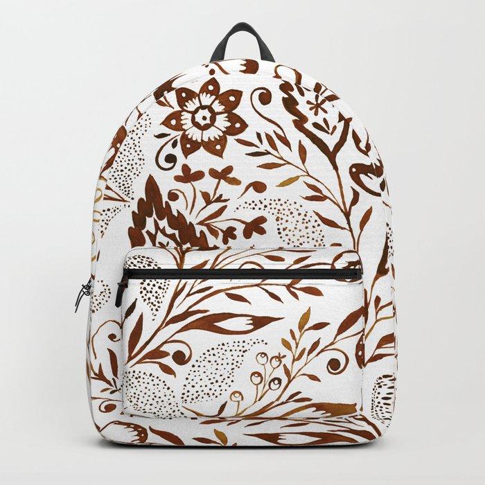 Folk Floral Brown Backpack