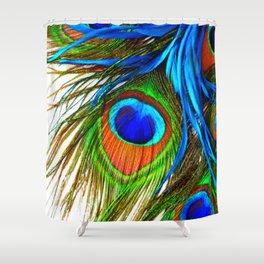 BLUE PEACOCK EYE FEATHER DESIGN Shower Curtain