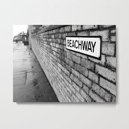 Beachway Black and White Photograph Metal Print