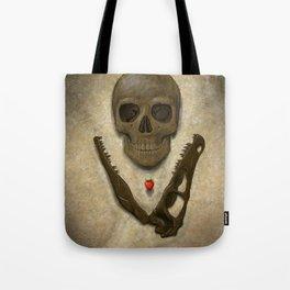 Impermanence - Velociraptor and Human Skull Tote Bag