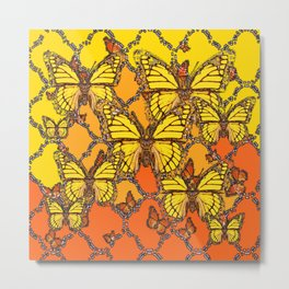YELLOW & ORANGE MONARCH BUTTERFLIES ART Metal Print